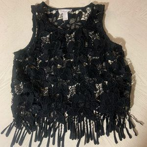 Forever 21 Women's Black Thick Lace Fringe Tank